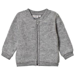 Wheat Felted Wool Cardigan Melange Grey 9m/74cm - Babyshop