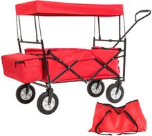 Trækvogn foldbar med tag - rød