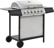 vidaXL gasgrill med 6 madlavningszoner rustfrit stål sølvfarvet