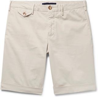 Slim-fit Stretch-cotton Gabardine Shorts - Beige