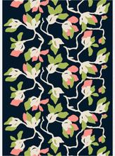 Mielitty tyg bomull/linne mörkblå-grön-rosa