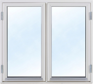 2-glasfönster Trä utåtgående - 2-Luft - Vit 9x12 Frostat glas Spaltventil vit