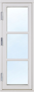 2+1 Traditionsfönster - Trä - 1-luft - Målat 5x13 Högerhängd Frostat glas Ingen spaltventil Vit