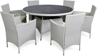 Rund matgrupp i vit konstrotting med 6 stolar