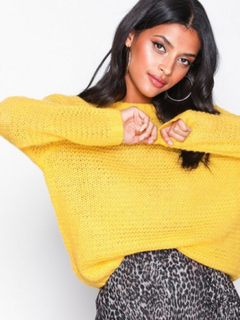 Glamorous Oversized Sleeve Jumper Stickade tröjor Yellow