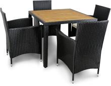 Liten matgrupp trädgårdsmöbler i konstrotting med 4 stolar