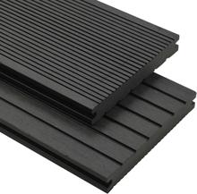 vidaXL WPC massiva golvplattor med tillbehör 10 m² 2,2 m svart