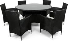 Rund matgrupp utemöbler   6 stolar   Dynor ingår   Konstrotting
