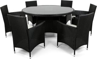 Rund matgrupp i konstrotting med 6 stolar