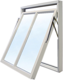 Vridfönster med bågpost - 3-glas - Aluminium - U-värde: 1,1 11x12 Frostat glas Ingen spaltventil
