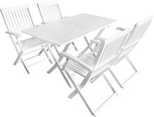 vidaXL udendørs spisebordssæt 5 dele massivt akacietræ hvid