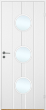 Innerdörr Bornholm - Kompakt dörrblad, spårfräst dekor & runda glaspartier A16 Vit (standard) (NCS S 0502-Y)