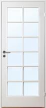 Innerdörr Gotland - Kompakt dörrblad med stort spröjsat glasparti SP12 Vit (standard) (NCS S 0502-Y) Frostat glas