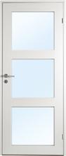 Innerdörr Öland - Massivt dörrblad med glas i 3:spegel-indelning Frostat glas