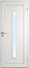 Innerdörr Öland - Massivt dörrblad, 1:spegel, avlångt glasparti Vit (standard) (NCS S 0502-Y) Frostat glas