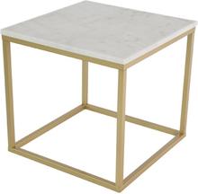 Accent soffbord 50 - Vit marmor / Mässingsfärgat underrede