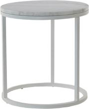 Accent runt lampbord D50 cm - vit marmor / vitt underrede