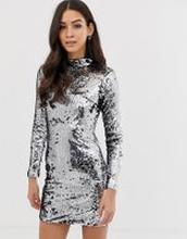 Forever Unique - Långärmad klänning med paljetter - Silver