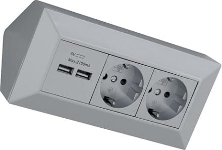 Hörnbox med USB & eluttag silver