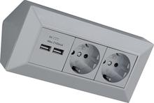Hörnbox med USB & eluttag silver Liton