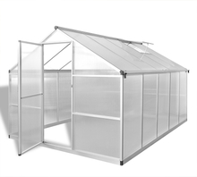 vidaXL Vahvistettu alumiininen kasvihuone pohjarungolla 7,55 m²