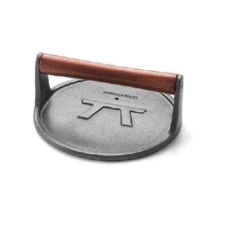 Rund stekvikt och grillpress i gjutjärn