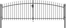 vidaXL Grind med dubbeldörr och spjut-toppar 400x175 cm