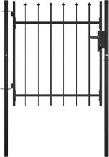vidaXL Grind med dörr och spjut-toppar 100x75 cm