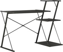vidaXL Skrivbord med hylla svart 116x50x93 cm