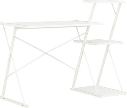 vidaXL Skrivbord med hylla vit 116x50x93 cm