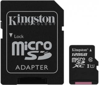 128GB class 10 Kingston (MicroSDHC med SDHC adapter) - Minneskort