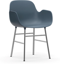 Form karmstol kromade ben Blå