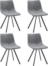 vidaXL Matstolar 4 st grå konstläder