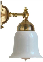 Badrumslampa - Adelborg mässing, opalvit klocka