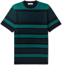 Mr P. - Striped Knitted Cotton T-shirt - Green - L,Mr P. - Striped Knitted Cotton T-shirt - Green - M,Mr P. - Striped Knitted Cotton T-shirt - Green - XL,Mr P. - Striped Knitted Cotton T-shirt - Green - S,Mr P. - Striped Knitted Cotton T-shirt - Green - X
