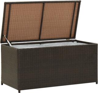 vidaXL Utendørs oppbevaringsboks polyrotting 100x50x50 cm brun