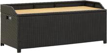 vidaXL havebænk med opbevaring 120 cm polyrattan sort