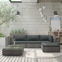 vidaXL Trädgårdssoffa med dynor 5 delar konstrotting grå