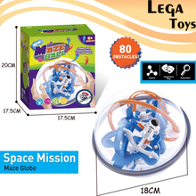 3D Space mission Maze globe Ball Puzzle Toy,Interactive Brain Teaser Magic Intellect Ball with 80 Challenging IQ Balance toys