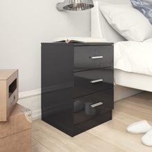 vidaXL Sängbord svart högglans 38x35x56 cm spånskiva