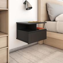 vidaXL Svävande sängbord svart 40x31x27 cm spånskiva