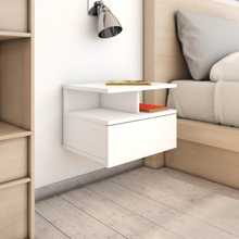 vidaXL Svävande sängbord vit 40x31x27 cm spånskiva
