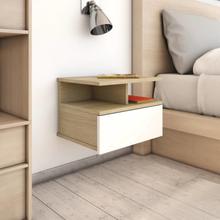 vidaXL Svävande sängbord 2 st vit och sonoma-ek 40x31x27 cm spånskiva