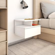 vidaXL Svävande sängbord vit högglans 40x31x27 cm spånskiva