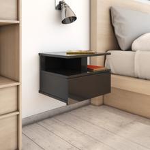 vidaXL Svävande sängbord svart högglans 40x31x27 cm spånskiva