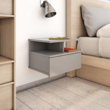 vidaXL Svävande sängbord grå högglans 40x31x27 cm spånskiva