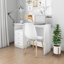 vidaXL Skrivebord med skuffer hvit 110x50x76 cm sponplate