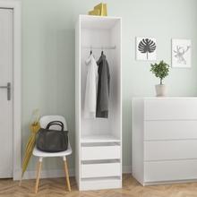vidaXL Garderob med lådor vit 50x50x200 cm spånskiva