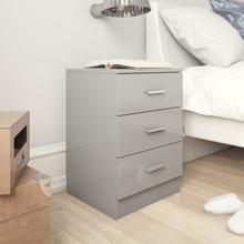 vidaXL Sängbord grå högglans 38x35x56 cm spånskiva