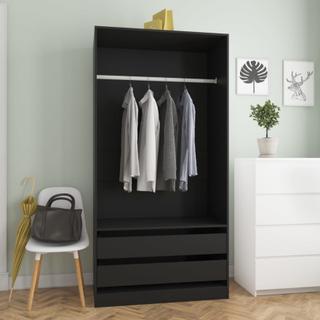 vidaXL Garderobe svart 100x50x200 cm sponplate